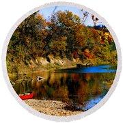 Canoe On The Gasconade River Round Beach Towel