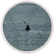 Round Beach Towel featuring the photograph Canoeing In The Florida Riviera by Rafael Salazar