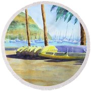 Canoes And Surfboards In The Morning Light - Catalina Round Beach Towel