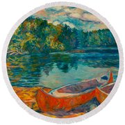 Canoes At Mountain Lake Round Beach Towel
