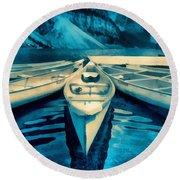 Canoes Round Beach Towel
