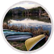 Canoes In Nc Round Beach Towel