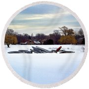 Canoes In The Snow Round Beach Towel