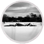 Canoes In The Snow - Monochrome Round Beach Towel