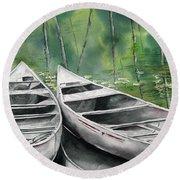 Canoes To Go Round Beach Towel
