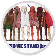 Can't We Just Get Along? Round Beach Towel