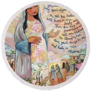Canticle Of Mary Round Beach Towel