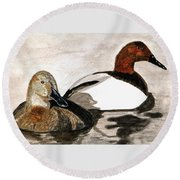 Canvasback Couple Round Beach Towel by Angela Davies