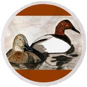 Canvasback Couple Round Beach Towel