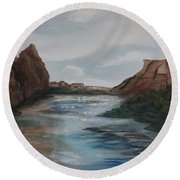 Round Beach Towel featuring the painting Canyon De Chelly by Ellen Levinson