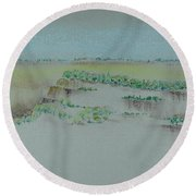Round Beach Towel featuring the pastel Canyon View by Michele Myers