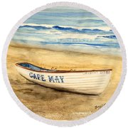 Cape May Lifeguard Boat - 2 Round Beach Towel