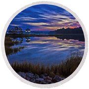 Cape Charles Sunrise Round Beach Towel by Suzanne Stout