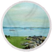 Cape Cod  Boats Round Beach Towel