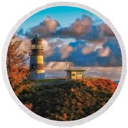 Cape Disappointment Light House Round Beach Towel by James Heckt