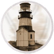 Cape Disappointment Lighthouse Round Beach Towel by Cathy Anderson