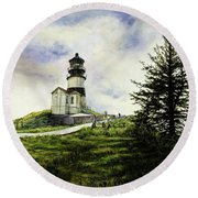 Cape Disappointment Lighthouse On The Washington Coast Round Beach Towel