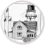 Round Beach Towel featuring the drawing Cape Elizabeth Lighthouse by Ira Shander