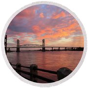 Round Beach Towel featuring the photograph Cape Fear Bridge by Cynthia Guinn