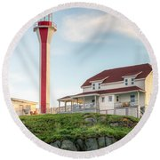 Cape Forchu Lighthouse Round Beach Towel