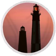 Cape Henry Lighthouses  Round Beach Towel
