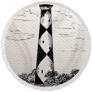 Cape Lookout Lighthouse Nc Round Beach Towel