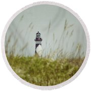 Cape Lookout Lighthouse - Vintage Round Beach Towel by Kerri Farley