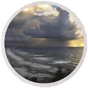 Round Beach Towel featuring the photograph Sunset At Cape Lookout Oregon Coast by Yulia Kazansky