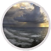 Sunset At Cape Lookout Oregon Coast Round Beach Towel