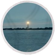 Round Beach Towel featuring the photograph Cape May Beacon by Ed Sweeney