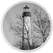 Cape May Light B/w Round Beach Towel