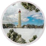 Cape May Light Thru Snowy Trees Round Beach Towel