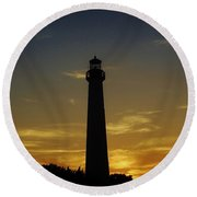 Round Beach Towel featuring the photograph Cape May Lighthouse At Sunset by Ed Sweeney