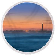 Cape May Lighthouse Sunset Round Beach Towel