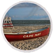 Cape May N J Rescue Boat Round Beach Towel