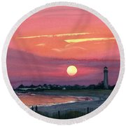 Cape May Sunset Round Beach Towel