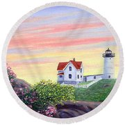 Cape Neddick Sunrise Round Beach Towel