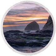 Cape Rocks And Surf Sunset Round Beach Towel