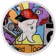 Round Beach Towel featuring the painting Caped Tooth by Anthony Falbo