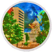 Capital - Jefferson City Missouri - Painting Round Beach Towel by Liane Wright