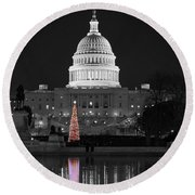 Round Beach Towel featuring the photograph Capitol Christmas by Shawn O'Brien