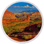 Capitol Reef Landscape Round Beach Towel by Greg Norrell