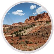 Round Beach Towel featuring the photograph Capitol Reef Panorama No. 1 by Tammy Wetzel