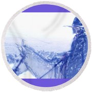 Capt. Call In A Snow Storm Round Beach Towel by Seth Weaver