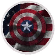Captain America Shield On Usa Flag Round Beach Towel
