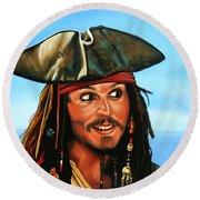 Captain Jack Sparrow Painting Round Beach Towel