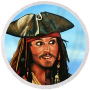 Captain Jack Sparrow Painting Round Beach Towel by Paul Meijering