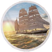 Captain Larry Paine Clippership Round Beach Towel
