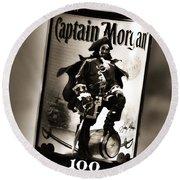 Captain Morgan Black And White Round Beach Towel