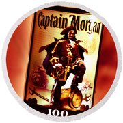 Captain Morgan Red Toned Round Beach Towel